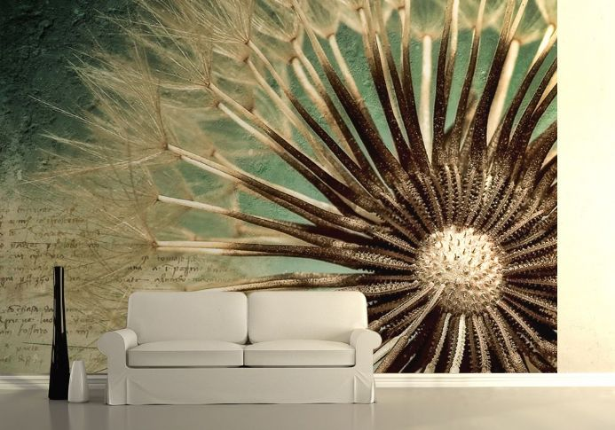 Close up of dandelion seed wall mural wallpaper | Shop online